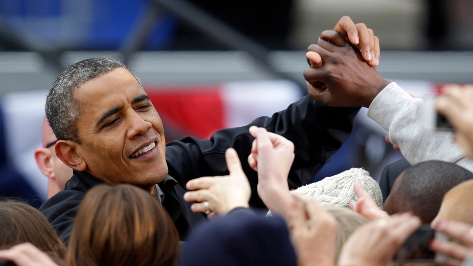 U.S. President Barack Obama greets supporters after speaking at a campaign event near the State Capitol Building in Madison, Wis., Monday, Nov. 5, 2012. (AP / Pablo Martinez Monsivais)