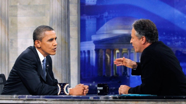 President Barack Obama is pictured during a commercial break as he talks with host Jon Stewart as he takes part in a taping of Comedy Central's The Daily Show with Jon Stewart, Wednesday, Oct. 27, 2010, in Washington. (AP / Charles Dharapak)