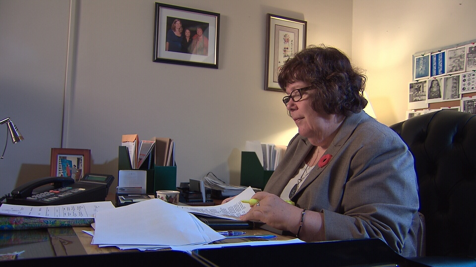 NDP health critic Libby Davies reviews her sodium bill in Ottawa on Monday, Nov. 5, 2012.