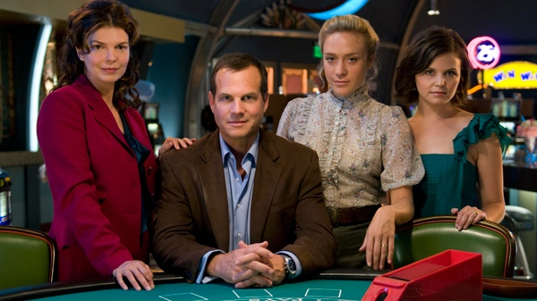 In this publicity image released by HBO, from left, Jeanne Tripplehorn, Bill Paxton, Chloe Sevigny and Ginnifer Goodwin are shown from the HBO original series, 'Big Love.'