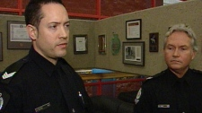 Sgt. Aubrey Zalaski, left, and Const. Pat Tracy speak to CTV News on October 28, 2010.