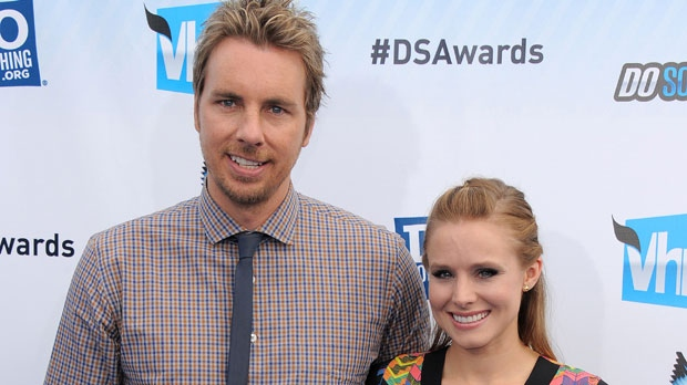 This Aug. 19, 2012 file photo shows actors Dax Shepard, left, and Kristen Bell at the 2012 Do Something awards in Santa Monica, Calif. (Photo by Jordan Strauss/Invision/AP)