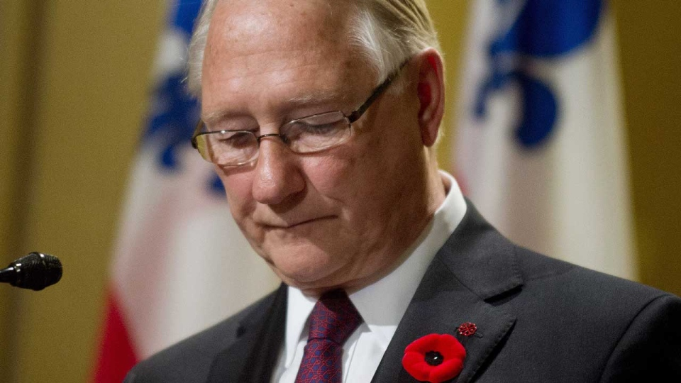 Gerald Tremblay speaks at a news conference in Montreal Monday, November 5, 2012 where he announced his resignation as mayor of Montreal. THE CANADIAN PRESS/Graham Hughes.