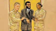 Omar Khadr during his military tribunal