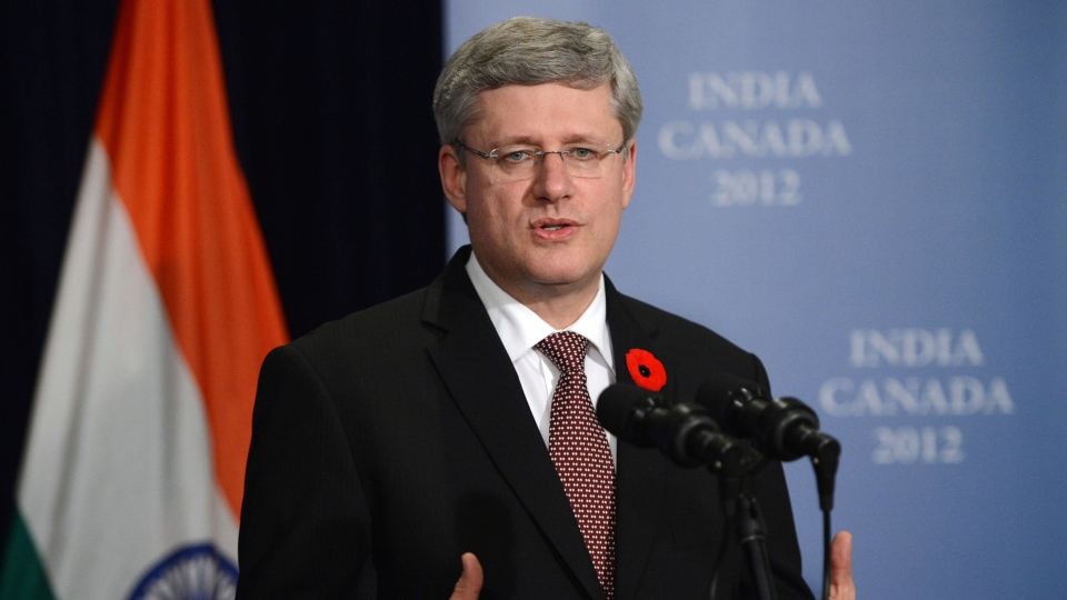 Prime Minister Stephen Harper holds a media availability in New Dehli, India on Tuesday, Nov. 6, 2012. (Sean Kilpatrick / THE CANADIAN PRESS)