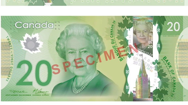 The front of the new Canadian $20 bill is shown in a handout photo. (HO-Bank of Canada/ THE CANADIAN PRESS)