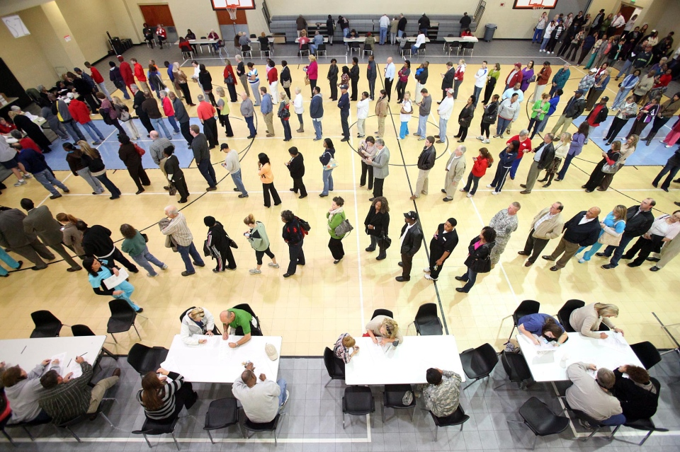 Voters wait in line at the Bobby Miller Activity Center in Tuscaloosa, Ala., on Tuesday, Nov. 6, 2012. (Tuscaloosa News / Dusty Compton)