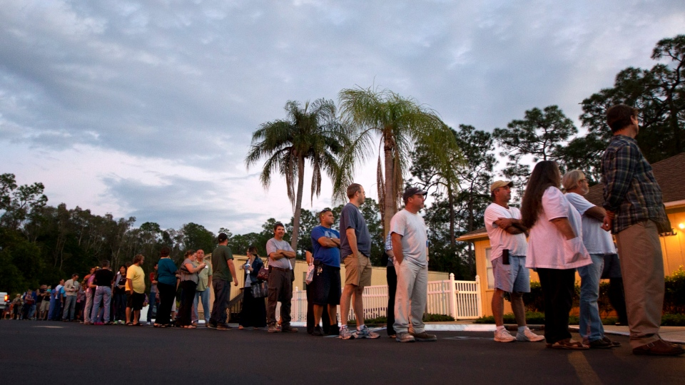 Voters stand in line at a Fort Myers, Fla. church late Tuesday, Nov. 6, 2012. (J Pat Carter)