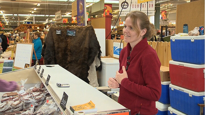 Bison rancher Larissa Helbig has made a speedy recovery since being attacked by one of her animals on August 6, 2012, and she's back selling her products at the Strathcona Farmer's Market.