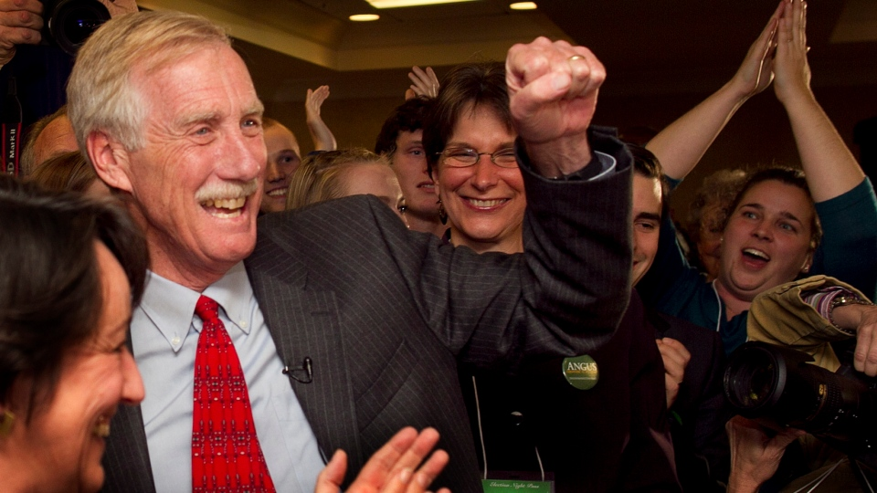 Independent Angus King celebrates his victory for the U.S. Senate seat vacated by Olympia Snowe, R-Maine, Tuesday, Nov. 6, 2012, in Freeport, Maine. (AP / Robert F. Bukaty)