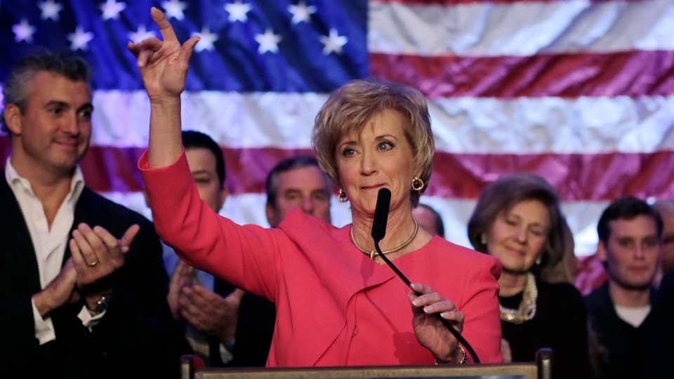 Republican candidate for U.S. Senate Linda McMahon waves as she thanks supporters in Stamford, Conn., Tuesday, Nov. 6, 2012. (AP / Charles Krupa)