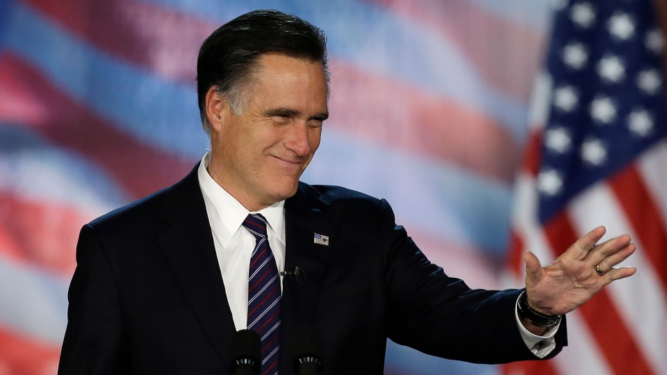 U.S. Republican presidential candidate and former Massachusetts Gov. Mitt Romney arrives to his election night rally in Boston, Wednesday, Nov. 7, 2012. (AP / David Goldman)