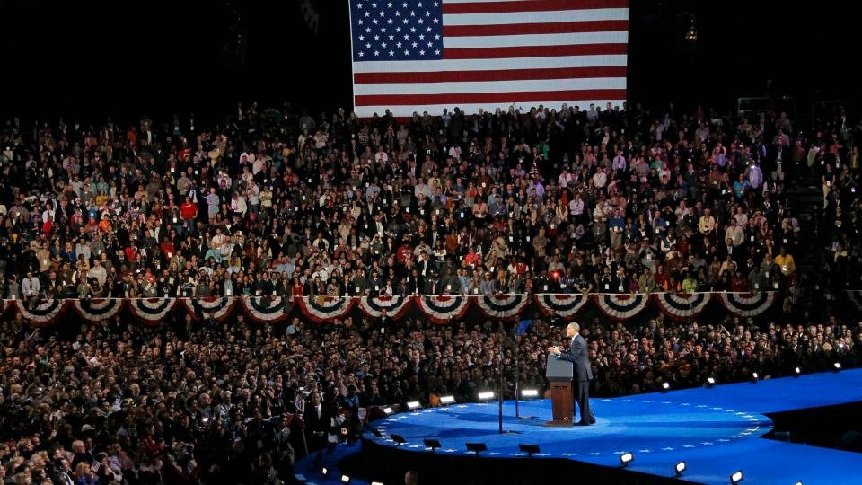 Obama wins election presidency Chicago speech