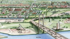proposed new bridge linking Detroit and Windsor