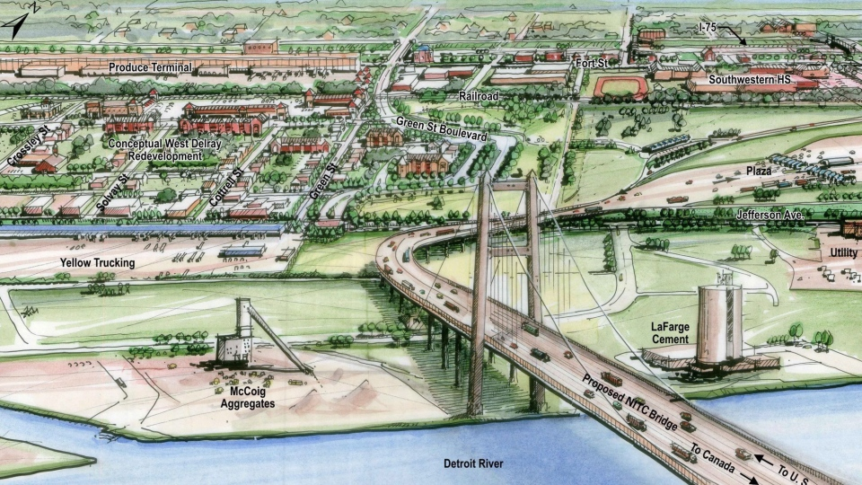 A proposed new bridge linking Detroit and Windsor, is shown in this 2012 artist's rendering. Prime Minister Stephen Harper is welcoming the decision by voters in Michigan to reject a proposal for a statewide vote on plans for any new international crossing. (Michigan Department of Transportation)