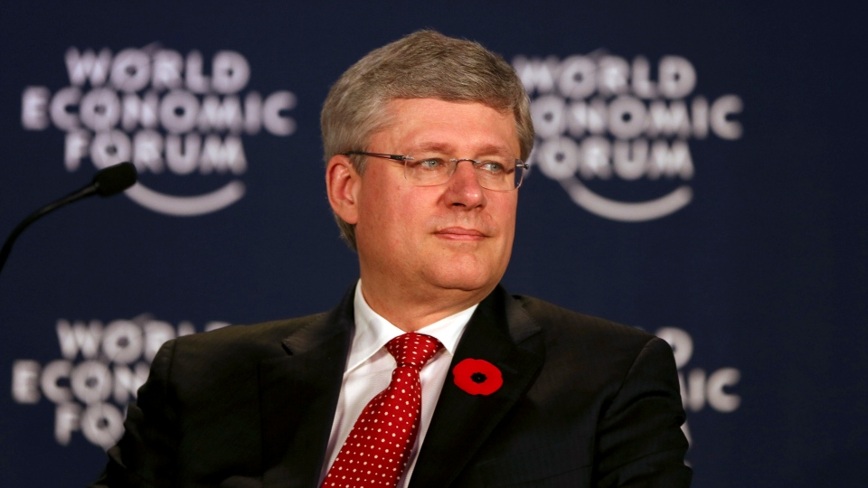 Prime Minister Stephen Harper attends the World Economic Forum meeting in Gurgaon, outskirts of New Delhi, India, Wednesday, Nov. 7, 2012. (AP /  Manish Swarup)