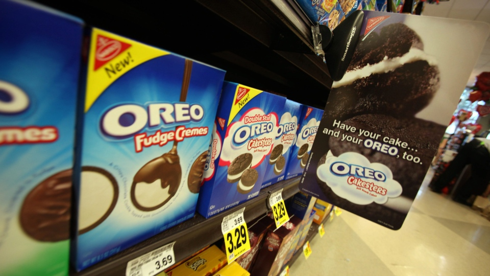 Oreo cookies and Nabisco signage - part of the Kraft Foods Inc. family of brands and products, are seen at a Ralphs Fresh Fare supermarket in Los Angeles Wednesday, Feb. 9, 2011. (AP Photo)