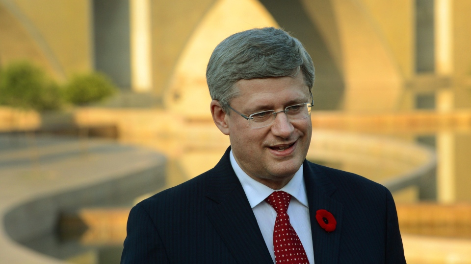 Prime Minister Stephen Harper comments on the U.S. election results after visiting the Khalsa Heritage Complex in in Anandpur Sahib, India on Wednesday, Nov. 7, 2012. (Sean Kilpatrick / THE CANADIAN PRESS)