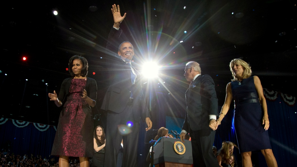 U.S. President Barack Obama with first last Michelle Obama, U.S. Vice President Joe Biden and Jill Biden celebrate on stage at the election night party at McCormick Place, early Wednesday, Nov. 7, 2012, in Chicago. (AP / Carolyn Kaster)