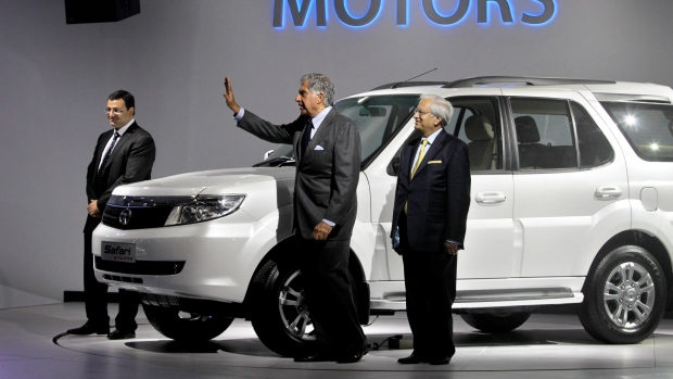 Execs with the Tata Safari on Jan. 5, 2012.