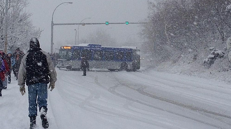 A bus slides down Connors Road in downtown Edmonton Wednesday morning. PHOTO: Yannick Mahe.