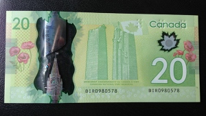 The Bank of Canada's new $20 polymer bill is shown in this Nov. 7, 2012 photo. (Jeff Long / CTV Toronto)