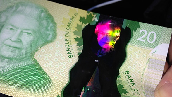 A closer look at the holographic security features on the Bank of Canada's polymer $20 bill. (Jeff Long / CTV Toronto)