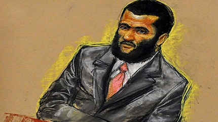 In this sketch, Canadian detainee Omar Khadr attends jury selection at his war crimes trial at the Camp Justice compound on Guantanamo Bay U.S. Naval Base in Cuba, Tuesday, Aug. 10, 2010. (AP / Janet Hamlin, Pool)