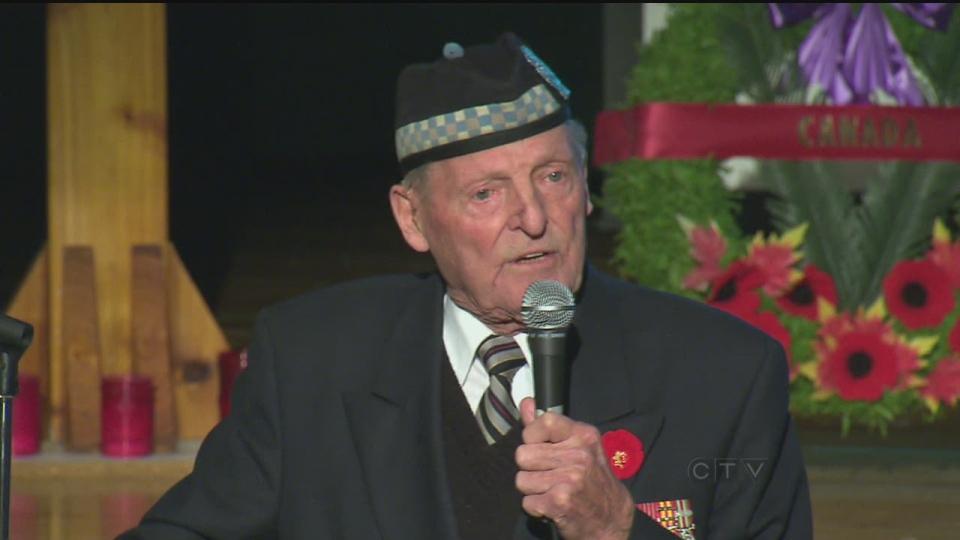 Veteran Stan Egerton speaks to students at Don Bosco Catholic Secondary School on Wednesday, Nov. 7, 2012.