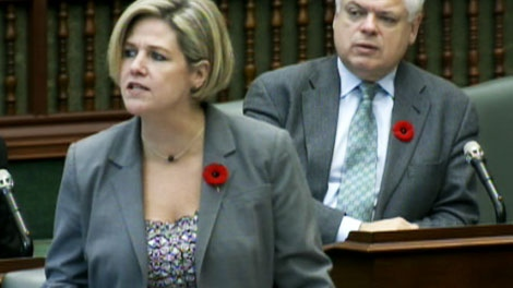 NDP Leader Andrea Horwath speaks during question period at Queen's Park on Monday, Nov. 1, 2010.