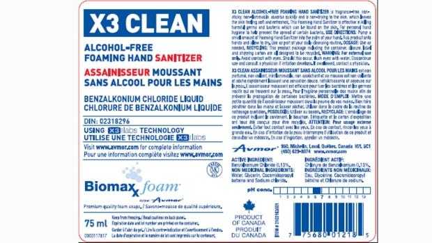 Avmor hand sanitizer recall