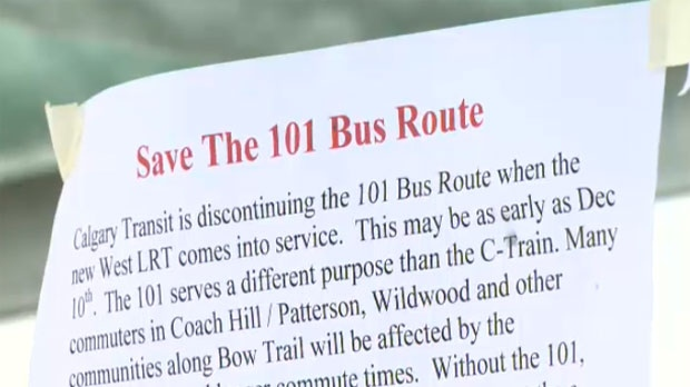 A petition is circulating in the communities of Strathcona and Coach Hill asking Calgary Transit to reconsider its decision to close two popular bus routes