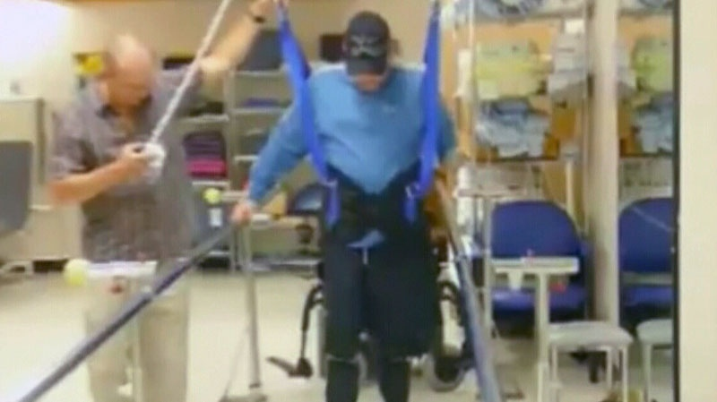 Cpl. William Kerr is shown in physiotherapy in this undated image taken from video.