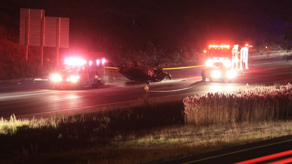 Photos show the scene of a single-vehicle crash early Friday morning on Highway 427 (Tom Stefanac)