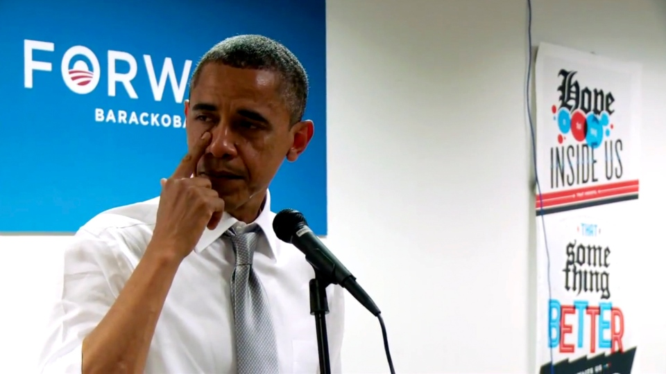 In this still image from a BarackObama.com campaign video, U.S. President Barack Obama wipes away tears as he thanks members of his campaign staff and volunteers in Chicago, Wednesday, Nov. 7, 2012.  (BarackObama.com)