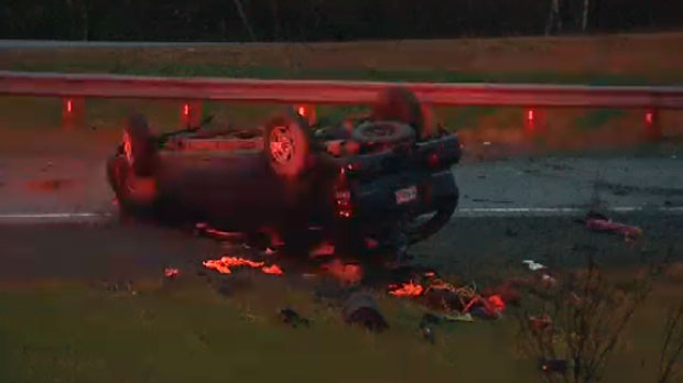 Police say the SUV flipped on its roof, sending one man to hospital.