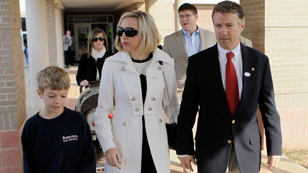 Kentucky Republican Senate candidate Rand Paul leaves the polling place with his wife Kelley and 11-year-old son Robert after voting in Bowling Green, Ky., Tuesday, Nov. 2, 2010. (AP / Ed Reinke)