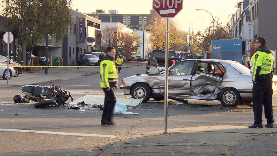 A fatal motorcycle collision closed Burrard Street near 2nd Avenue on Nov. 9, 2012. (CTV)