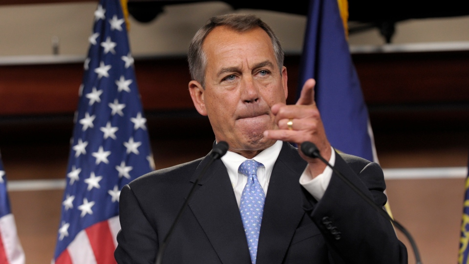 House Speaker John Boehner of Ohio calls on a reporter during a news conference on Capitol Hill in Washington, Friday, Nov. 9, 2012. (AP / Susan Walsh)