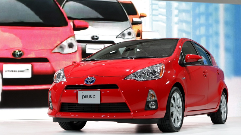 This file photo shows the 2013 Toyota Prius c during its debut at the North American International Auto Show in Detroit. (AP Photo/Paul Sancya)
