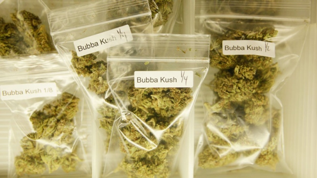 Marijuana is shown for sale at the San Francisco Medical Cannabis Clinic in San Francisco, Friday, Oct. 15, 2010. (AP / Eric Risberg)