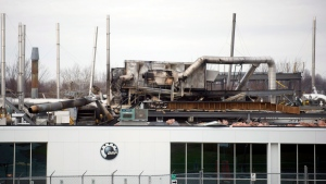 The scene at the BRP research plant in shown in Valcourt, Que., Friday, Nov. 9, 2012, following an explosion and fire which sent two people to hospital with serious burns. (Graham Hughes /  THE CANADIAN PRESS)