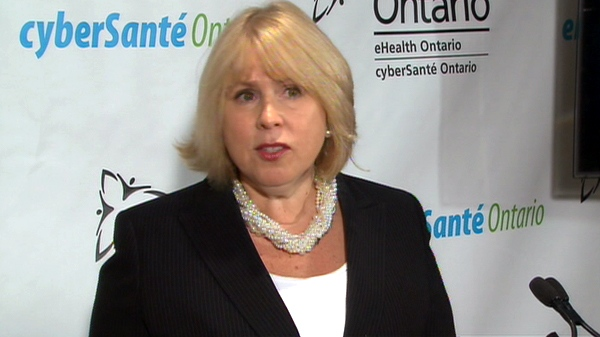 Ontario Health Minister Deb Matthews speaks with reporters from Toronto, Tuesday, Nov. 2, 2010.