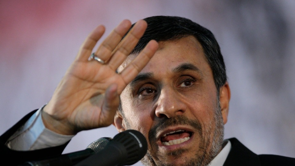 Iranian President Mahmoud Ahmadinejad gestures as he delivers a speech on the eve of the 23rd death anniversary of late revolutionary founder Ayatollah Khomeini, at his mausoleum just outside Tehran, Iran, June 2, 2012. (AP / Vahid Salemi)