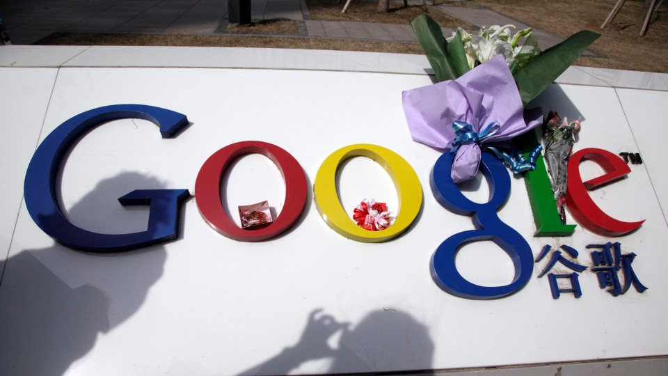 The Google logo is seen outside Google China headquarters in Beijing, China, March 23, 2010. (AP /Ng Han Guan)