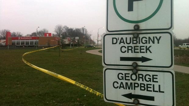 The area where the body of Jeffrey Powless was found in Brantford, Ont. on Friday, Nov.9, 2012. (Phil Molto / CTV Kitchener)