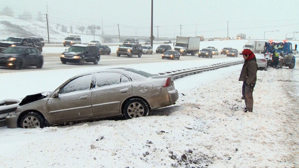 Calgarians faced a treacherous commute, as a winter storm caused traffic chaos across the city, Friday, Nov. 9, 2012.