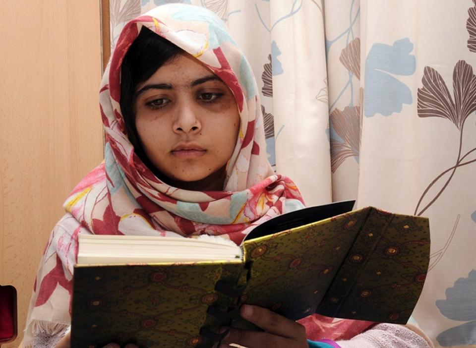 Malala Yousufzai, a 15-year-old girl who was shot at close range in the head by a Taliban gunman in Pakistan, continues her recovery at a hospital in Birmingham, England. (Queen Elizabeth Hospital)