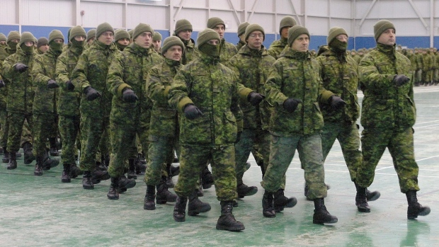 Troops at CFB Valcartier on Jan. 9, 2004.