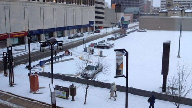 About three to five centimetres of snow fell in the city of Winnipeg overnight Friday and early Saturday morning. More was expected throughout the weekend.